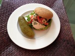 chicken sandwich and a pickle