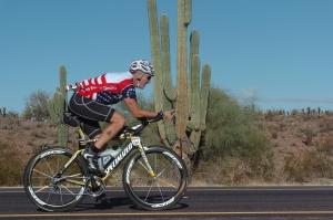 Dan riding in the desert