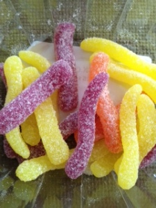 gummy worms colored with vegetable extracts...still not a vegetable!