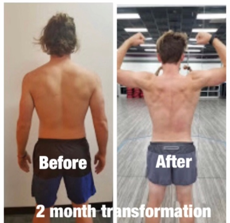 client Zack before and after back photos