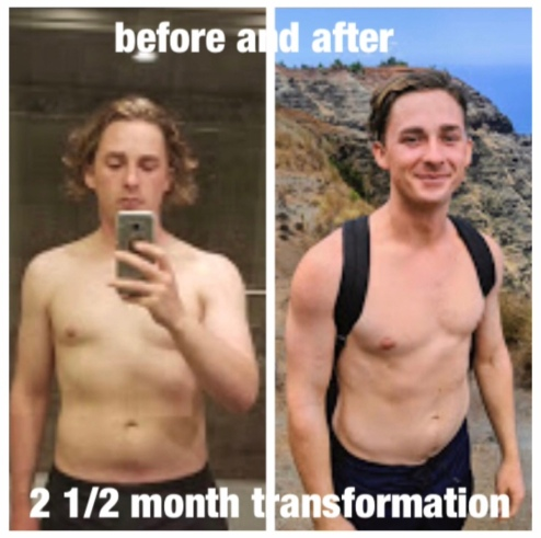 client Zack front before and after photos